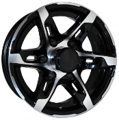 Sendel T10BM Black Machined 15X6 6X5.5/139.7 Trailer Wheel