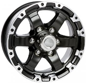 Sendel T08 Matte Black Machined Lip 17x8 6X5.5/139.7 Trailer Wheel T08-78655MBML