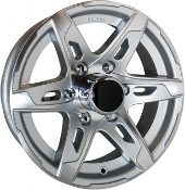 Sendel 15X6 6X5.5/139.7 T10SM Silver Machined Trailer Wheel T10-56655SM