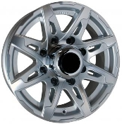 Sendel 16X6 8X6.5/165.1 T10SM Silver Machined Trailer Wheel T10-66867SM