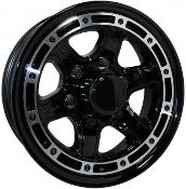 Sendel T11BM Black Machined 15X6 6X5.5/139.7 Trailer Wheel at gearworks