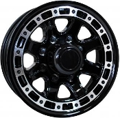Sendel T11BM Black Machined 16X6 8 lug Trailer Wheel at Gearworks